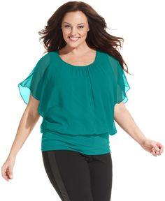 Style&co. Plus Size Flutter-Sleeve Banded-Hem Top