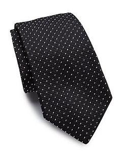 Ralph Lauren Grenedine Dotted Silk Tie - Black - Size No Size