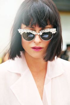 Mercura NYC original flat chunky crystal sunnies Sohpia Amoruso's sick glasses I New York Fashion Week Accessories - New York Street Style Accessories - ELLE