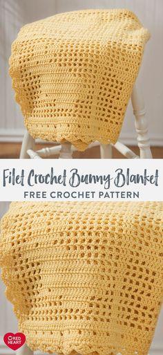 Filet Crochet Bunny Blanket free crochet pattern in Red Heart Super Saver yarn. If you love filet cr. Filet Crochet, Crochet Stitches Free, Crochet Blanket Patterns, Crochet Afghans, Baby Afghan Patterns, Crochet Baby Mittens, Crochet Beanie, Baby Blanket Crochet, Easter Crochet