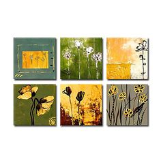 Hand-painted Floral Oil Painting with Stretched Frame - Set of 6 – AUD $ 106.24