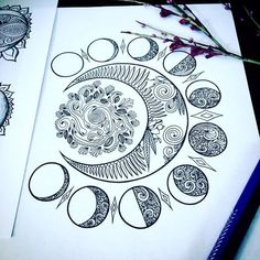 drawing Crescent Moons Adult Coloring Page Set of Three Original Art Moon Phases Design Mandala Tattoo Design, Mandala Drawing, Tattoo Designs, Drawing Art, Tattoo Ideas, Moon Drawing, Moon Phases Drawing, Drawing Flowers, Mandala Painting