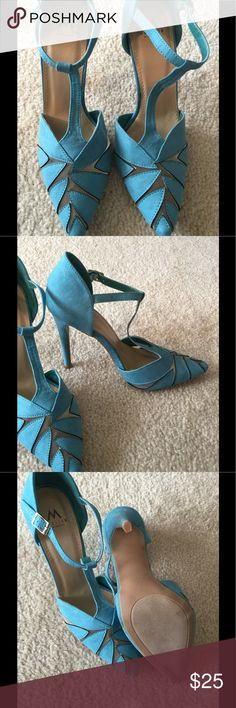 """Blue T-Strap Heels BNWOB Size 7.5, heel 4.3"""", not narrow foot friendly, brand new without box Shoe Dazzle Shoes Heels"""