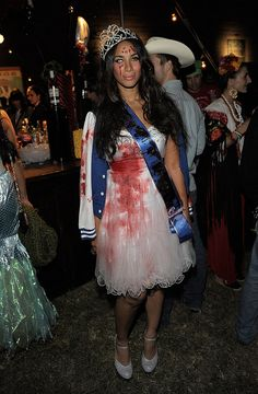 Leona Lewis as a bloody prom queen for Halloween