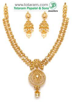 Totaram Jewelers: Buy Indian Gold jewelry & 18K Diamond jewelry: Uncut Diamond Necklace Sets