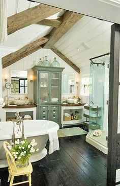 Cottage | Farmhouse | Bathroom | Wood Beam | Ceiling | White Plank Walls | Clawfoot Tub