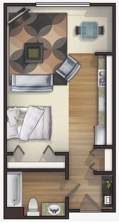 Apartment Design Layout 400 sq. ft. layout with a creative floor plan. (actual studio