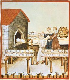 Four à pain. Enluminure extraite du Tacuinum sanitatis (vers 1390-1400)
