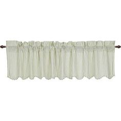 "Available at Wayfair (cheapest) and 10 other stores. Available in Brown Stripe also.   72 x 16 3 1/4 Rod Pocket 2"" header linedw ith white VHC Brands Josephine Scalloped Curtain Valance $14+Tax+$% shipping window valances green stripe ticking - Google Search"