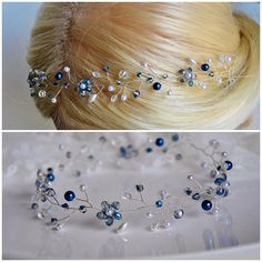 Check out this item in my Etsy shop https://www.etsy.com/listing/550799870/blue-wedding-hair-vine-something-blue