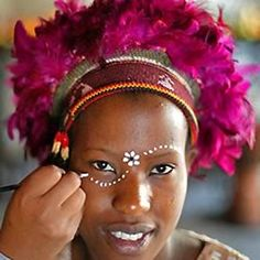 face-painted at one of the many branches of Moyos in Johannesburg is one of those 'must-dos' Eye Painting, Face Painting Designs, African Tribal Makeup, African Face Paint, Tribal Face Paints, Mime Face Paint, African Princess, African Theme, African Art