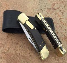 a buck 110 knife conversion classic 440c blade wbone handle lansky sharpener