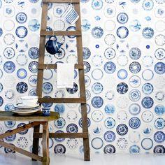 wallpaper. delft blue.