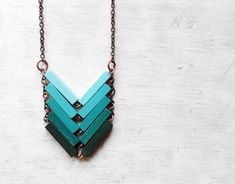 Wood Geometric Necklace // JUNGLE // Minimal Jewelry // Mint Turquoise Hand-Painted Necklace // Modern Necklaces // Chevron Necklace