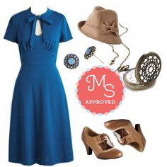 In this outfit: Archival Revival Dress, Tender Embers Hat, Simple Sparkle Earrings, Turn Back Time Necklace, It's a Sure Fete Heel #vintage #retro #1940s #fashion #outfits #dresses #ModCloth #ModStylist