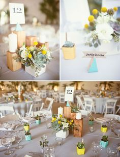 geometric, rustic centerpieces with wood blocks and succulents
