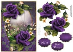 Purple Velvet Roses A5 on Craftsuprint designed by Anne Lever - This lovely A5 topper features gorgeous purple roses. It has decoupage, two greetings and a blank greetings tile. - Now available for download!