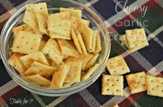 Cheesy Garlic Crackers  What you need:  4 cups mini Saltines crackers {or any type you prefer}  3-4 TBSP melted butter  1 pack Good Seasons Cheese Garlic Salad Dressing Mix