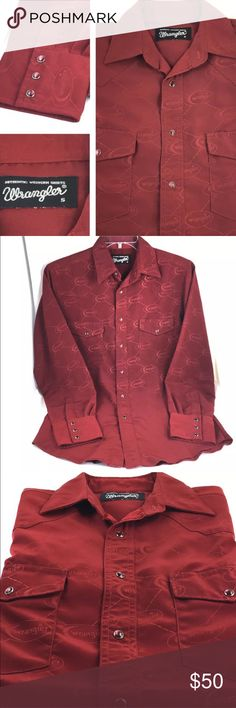 """Wrangler Shirt Logo Western Red Pearl Snaps Mens S Wrangler Authentic Western Shirt Mens Button down shirt Size Small Long sleeve  100% Polyester Burgundy red  Solid color 2 front pockets All over Wrangler logo on front and back Red pearl snaps (buttons) Great condition. No rips, stains or tears  Approximate measurements taken on a flat surface:  20-1/2"""" Wide (underarm to underarm) 32"""" Long 24-1/2"""" Sleeves (shoulder to sleeve hem)  Thank you for stopping by. Please MAKE an OFFER or visit my…"""