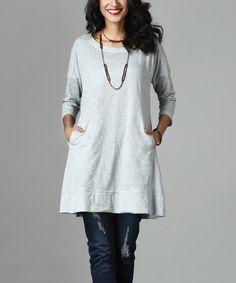 Look at this #zulilyfind! Gray French Terry Pocket Sweatshirt by Reborn Collection #zulilyfinds