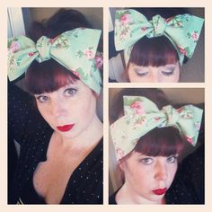 Light Green Floral Headwrap Bandana Hair Big Bow Tie 1940s 1950s Vintage Style - Rockabilly - Pin Up - For Women, Teens