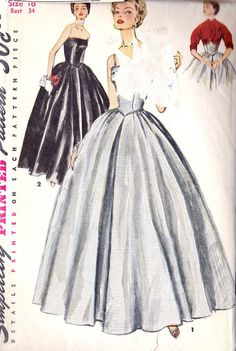Misses Ball Gown Evening Gown Prom Dress Vintage Dress Patterns, Vintage Dresses, Vintage Sewing, Sewing Patterns, Vintage Evening Gowns, Ball Gowns Evening, Bridesmaid Dresses, Prom Dresses, Dresses For Work