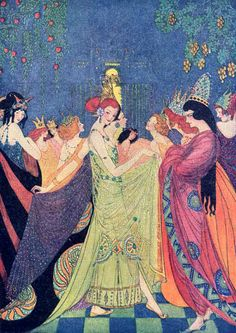 The 12 Dancing Princesses by Elenore Abbott Beautiful illustration of the brother Grimm's fairy tale, The 12 Dancing Princesse. Art And Illustration, Princess Illustration, Botanical Illustration, Alphonse Mucha, Art Magique, 12 Dancing Princesses, Classic Fairy Tales, Inspiration Art, Vintage Fairies