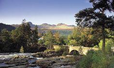 Looking down to the bridge at the Falls of Dochart, Killin