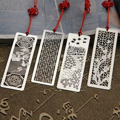 4 Styles Creative Retro Chinese Style Stainless Steel bookmarks Vintage Metal Bookmark For Books Gift 673 Craft Stick Crafts, Diy Craft Projects, Bookmarks For Books, Paper Art, Paper Crafts, Book Markers, Origami, Miniature Crafts, Book Gifts