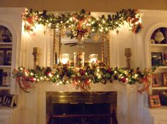 Christmas mantle garland (no info) - lots of Christmas decoration photos here Christmas Fireplace, Christmas Mantels, Noel Christmas, Winter Christmas, Christmas Wreaths, Pink Christmas, Christmas Ideas, Christmas Vases, Christmas Villages