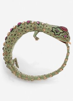 An antique gold, enamel, ruby and pearl Lizard bracelet, Swiss work for the Turkish market, 19th century.
