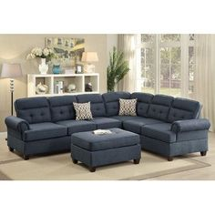 Infini Furnishings Sectional Upholstery Color: Dark Blue