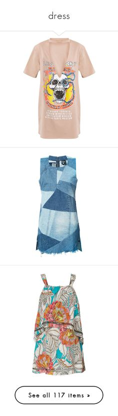 """""""dress"""" by cbbh ❤ liked on Polyvore featuring dresses, skull dress, plunge dresses, t-shirt dresses, pink skull dress, tee shirt dress, denim, blue, denim dress and patchwork denim dress"""