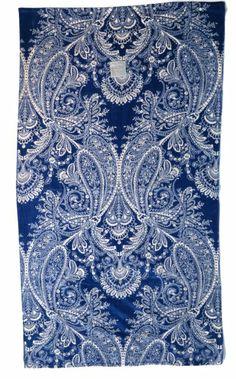 """Beach Towel Plush Oversized Raymond Waites Melody Indigo Paisley Blue Cream Luxury Extra Large 40"""" X 70"""""""
