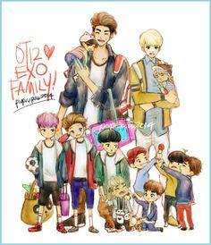 credits:bluemushyroom (Okay this is rfeally really adorable..and they are presented by their age (top) sehun, kris, suho, kai (bottom) xiumin, luhan, lay, tao, chanyeol, d.o, baekhyun, chen