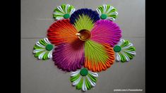 Very easy Diwali rangoli pujan rangoli designs Easy Rangoli Designs Videos, Rangoli Designs Latest, Simple Rangoli Designs Images, Rangoli Designs Flower, Rangoli Border Designs, Rangoli Patterns, Colorful Rangoli Designs, Rangoli Ideas, Flower Rangoli