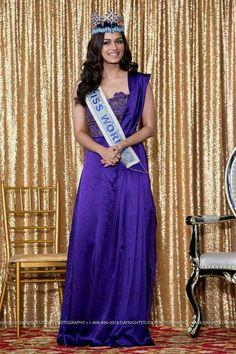 Miss world Munisha Chillar Miss World, Beauty Pageant, Beautiful Actresses, Bollywood, One Shoulder, Sari, Elegant, Formal Dresses, Fashion