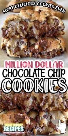 Chocolate Cookie Recipes, Easy Cookie Recipes, Sweet Recipes, Dessert Chocolate, Apple Recipes, Homemade Chocolate Chip Cookies, My Recipes, Desserts With Chocolate Chips, Perfect Chocolate Chip Cookies