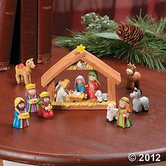 Fun Express Mini Christmas Nativity Set Stable with Jesus Mary Joseph Wisemen - 9 Pieces >>> Look into this terrific product. (This is an affiliate link). Kids Nativity Set, Nativity Stable, Christmas Nativity Set, Christmas Clay, Nativity Crafts, Miniature Christmas, Christmas Holidays, Christmas Crafts, Christmas Decorations