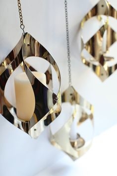 Mid century modern gold metal hanging candle holders