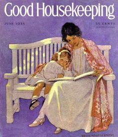Illustration by Jessie Willcox Smith for Good Housekeeping. Reading Art, Woman Reading, Kids Reading, Old Magazines, Vintage Magazines, American Illustration, Illustration Art, Vintage Illustrations, Jessie Willcox Smith