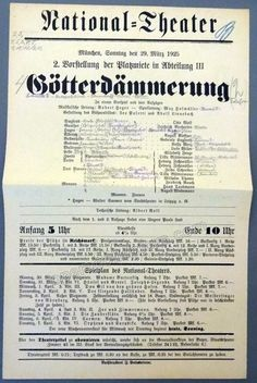 Wagner Operas at the National Theater Munich 1924-25 - Lot of 5 Playbills