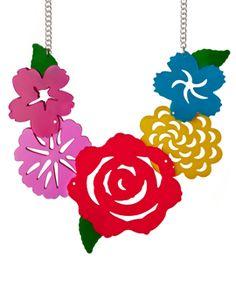 Original Jewellery Handmade in the UK Jewelry Art, Jewelry Necklaces, Jewellery, Mexican Flowers, Devine Design, Tatty Devine, Flower Necklace, Flower Jewelry, Acrylic Art