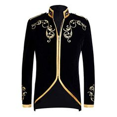 Buy it before it ends. There is always many products on sae upto - PYJTRL British Style Palace Prince Fashion Black Velvet Gold Embroidery Blazer Wedding Groom Slim Fit Suit Jacket Singers Coat - eTrendings Dress Suits For Men, Mens Suits, Men Dress, Buy Suits Online, Princes Fashion, Moda Indiana, Mandarin Collar Jacket, Blazer With Jeans, Pinstripe Suit