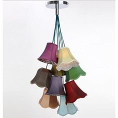 Emily Saloon Chandelier with 8 Multicoloured Light Pendant Shades