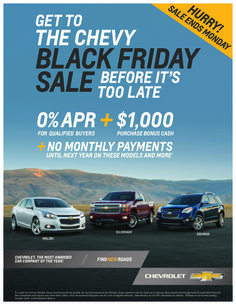 Check out the Chevy Black Friday Sale that lasts until December 1, 2014!