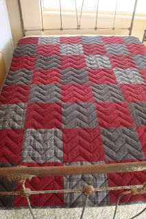QUILT BARN: Father's Day Snuggle Up Quilt Tutorial - Masculine Quilt Pattern; Love the chevron quilting, gives it the look of a chevron quilt while really a basic block