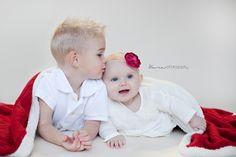 Kura Photography Lloydminster Baby Photographer Six Month Photo Baby Christmas Photo Siblings, Sibling love, brother and sister