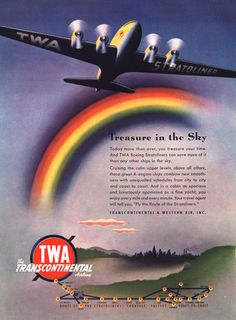 TWA Airlines Western Air Treasure In The Sky - Mad Men Art: The 1891-1970 Vintage Advertisement Art Collection