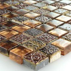 Mosaikfliesen Glas Marmor Braun Gold Mix 15x15x8mm Stein Mosaik